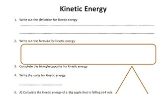 GCSE Physics Worksheet: Kinetic Energy, definition, formula Q&A