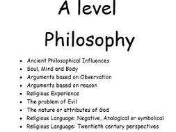 OCR A level Religious Studies - Philosophy keywords and definitions