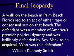 Jeopardy Law Game, SEX CRIMES, Criminal Law & Justice ~ Rape Sexting Abuse etc.