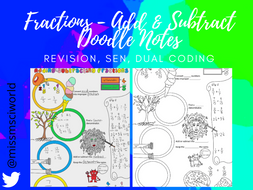 Fractions - Add & Subtract - Maths Doodle Note
