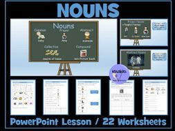 Nouns - PowerPoint Lesson and Worksheets