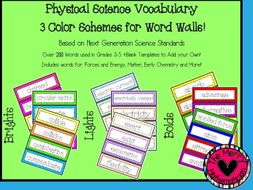 Physical Science Vocabulary Cards for Word Walls or Activities