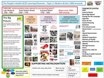 9-1 OCR History B, History Learning/Topic Placemats for The People's Health:  Modern Britain