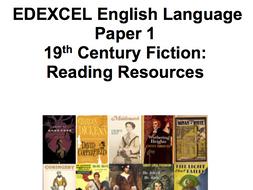 9-1 EDEXCEL GCSE English Language Paper 1, 19th Century Fiction  24 LESSON SOW