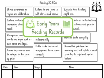 Reading record for EYFS