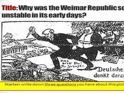 Weimar Republic from early years to Rise of Hitler and Consolidation of power