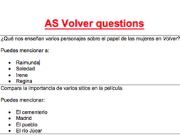 AS Volver essay questions