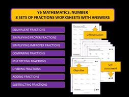 y6 mathematics 8 sets of differentiated fractions. Black Bedroom Furniture Sets. Home Design Ideas