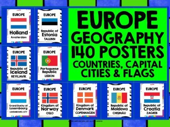 GEOGRAPHY EUROPE COUNTRIES CAPITAL CITIES & FLAGS POSTERS