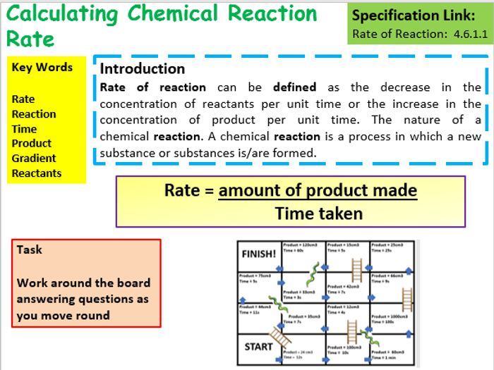 science coursework rates of reaction Reaction rates contents for this page related topics reactants and products definition of the reaction rate initial rates catalysis factors affecting chemical reaction rates equilibrium the collision theory measurement of reaction rates additional questions learning outcomes after studying this section, you will (a)understand what is meant by the rate of a chemical reaction, (b) and you.
