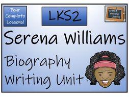LKS2 Literacy - Serena Williams Biography Writing Activity