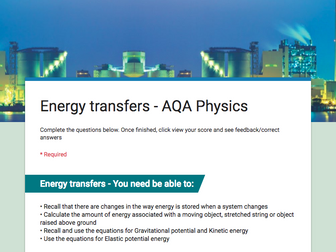 GCSE Physics Revision quizzes for AQA Science