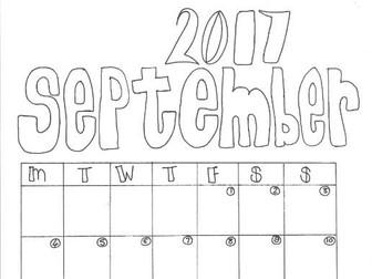 September Calendar Organiser and Colouring Sheet