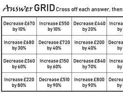 Increasing & Decreasing by a Percentage - Non-Calculator - Answer Grid