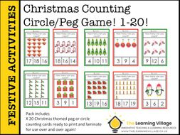 Christmas Clip/Peg/Circle Activity! Counting from 1-20!