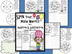 Spin Your Math Wheels Addition and Subtraction Centers Activity