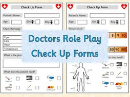 Doctors Role Play - Check up Forms and Prescriptions
