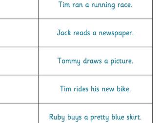 Verbs in sentences loop cards