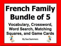 French Family Bundle of 5 - Practice Puzzles, Vocabulary, and Game Cards