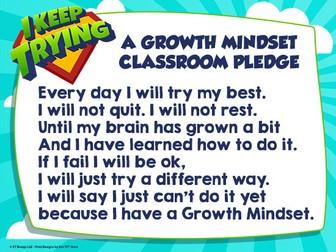 Growth Mindset PLEDGE Poster - Morning Routine Classroom Pledge