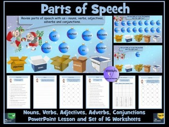 Parts of Speech Christmas - Themed PowerPoint and Worksheets