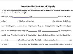 Aristotle Concepts of Tragedy Cloze Exercise