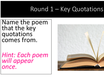 Power and Conflict Poetry - Revision Quiz