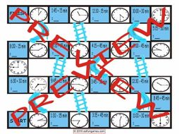 Telling Time Chutes and Ladders Board Game