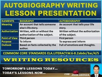 AUTOBIOGRAPHY WRITING LESSON PRESENTATION