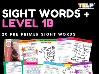 Sight Words 1B - Dolch Pre-Primer Worksheets (20 Words)