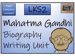LKS2 History - Mahatma Gandhi Biography Writing Activity