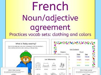 French clothing and colors - Noun adjective agreement practice