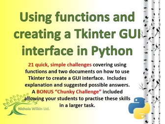 Using functions and creating a Tkinter GUI interface in Python