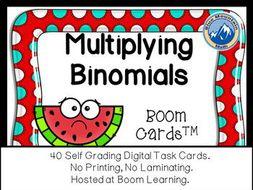 Multiplying Binomials Boom Cards--Digital Task Cards