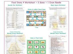 Food Items 4 Worksheet-2 Game-1 Exam Bundle