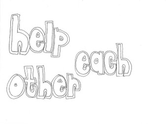 Help Each Other (Classroom Rules) Colouring Page