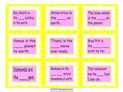 Superlative Adjective Cards 4 Pages = 36 Cards