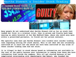 Martha Stewart Criminal Law Insider Trading  + Quiz + Flashcards ~ 60 Slides