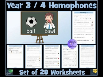 Homophones: Year 3 and 4 - Worksheets