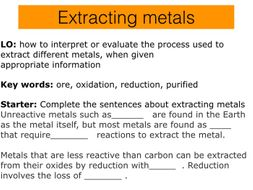 C5 Extracting metals, AQA 2016-17 new specification.