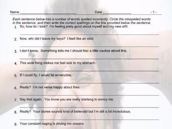 Feelings and Emotions Spelling Hunt Worksheet