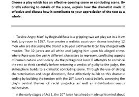 Higher English Model Essay: 12 Angry Men (marked 18/20)
