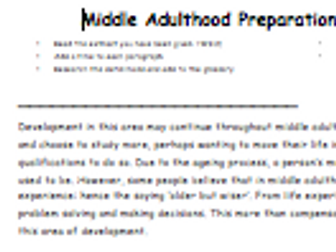Health and Social Care Literacy 'reading' homework / home-learning Unit 1 - middle adulthood