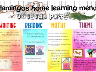 Home learning menu for KS1