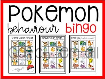 Pokemon Behaviour + Classroom Management Bingo