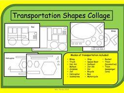 Transportation Shapes Collage