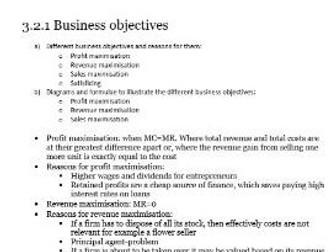 Edexcel Economics A-level Unit 3.2 Business objectives and Unit 3.3 Revenue, costs and profits