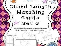 Chord Length Matching Cards Set Pythagorean Theorem Required