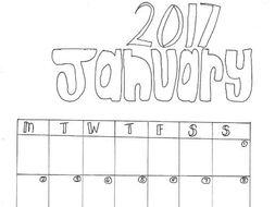 January Calendar Colouring Sheet