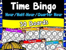 Time Bingo to the Hour, Half Hour, and Quarter Hour